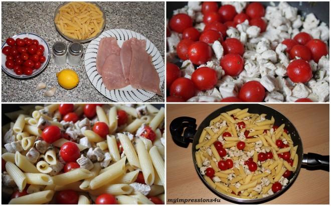 Sommerpasta mit marinierter Pute und Cherrytomaten - Zubereitung in Bildern