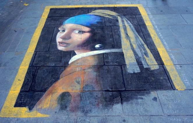 Die Frau mit dem Perlenohrring_Straßenmalerei Florenz_myimpressions4u